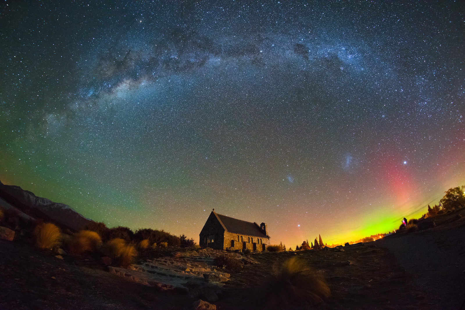 This is a picture Southern Light (Aurora Australis) at church of the good shepherd Mackenzie Country, New Zealand. Above the church there is visible Milky Way (our galaxy) and two Magellanic Clouds (or Nubeculae Magellani).